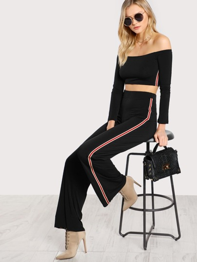 Side Striped Crop Top & Matching Pants BLACK