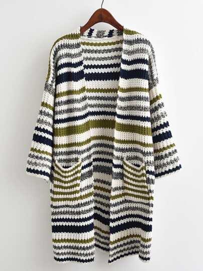 Multi-striped Drop Shoulder Cardigan