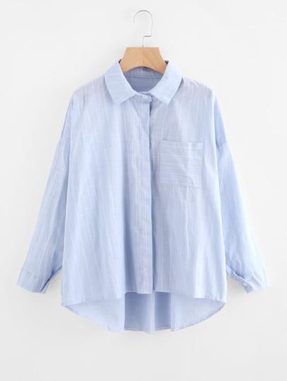 Pinstriped Drop Shoulder Dip Hem Shirt