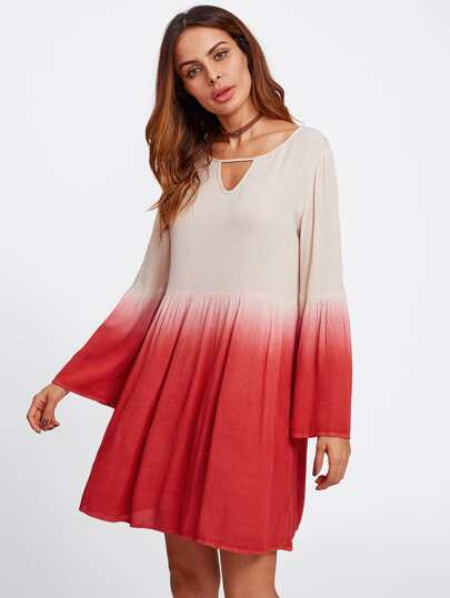 Keyhole Neck Bell Sleeve Crinkle Ombre Dress