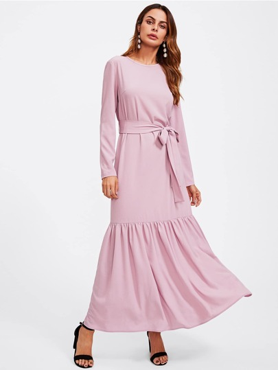 Keyhole Back Self Belt Ruffle Hijab Long Dress