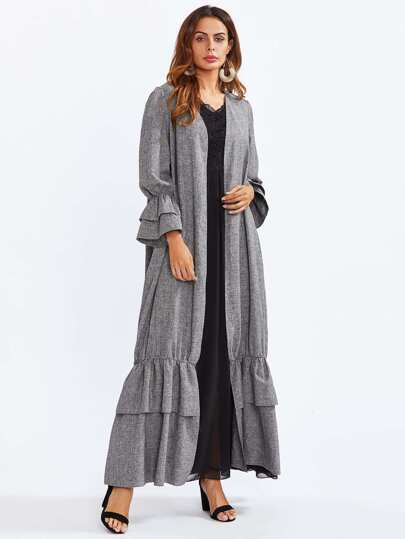 Tiered Ruffle Bell Cuff And Hem Abaya