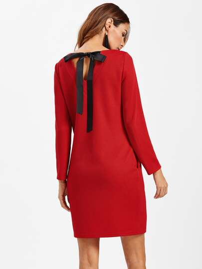 V Cut Bow Back Textured Dress