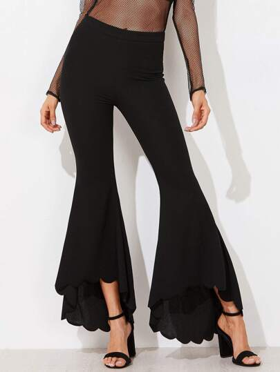 Scalloped Dip Hem Flared Pants