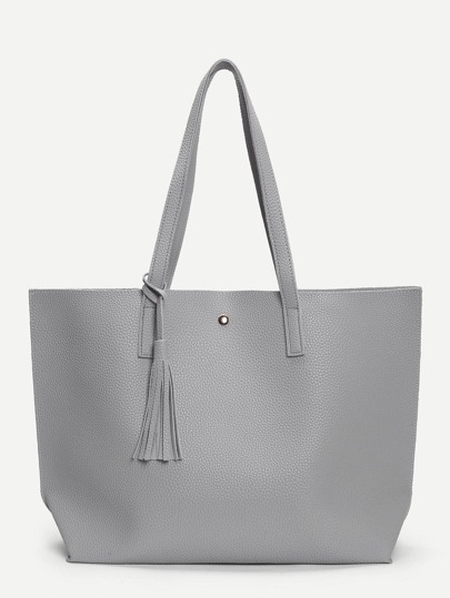 Tassel Detail PU Tote Bag