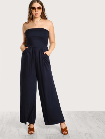 Strapless Front Pockets Jumpsuit NAVY