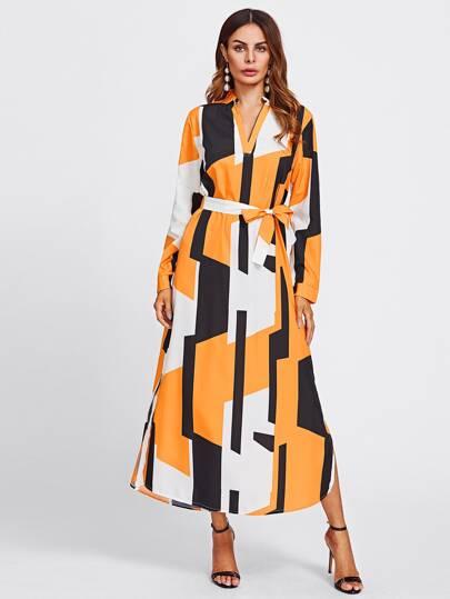 Vestito camicetta con scollo a v e stampa geometrica