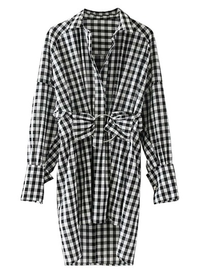 Ring Linked Dip Hem Gingham Dress