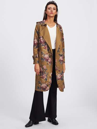 Suede Random Botanical Print Trench Coat