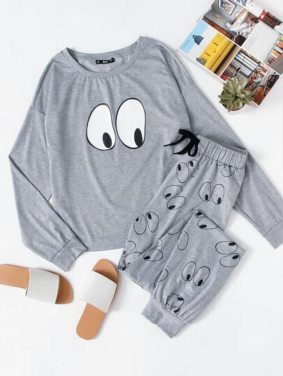Cartoon Eye Print Top & Sweatpants Pajama Set