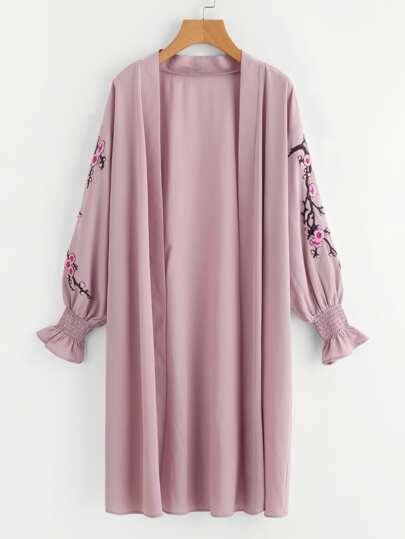 Blossom Embroidery Patch Shirred Cuff Duster Coat