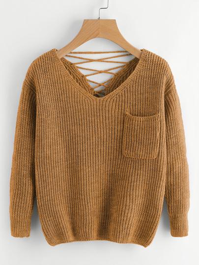 Suéter tejido chunky de espalda con cordón doble escote V