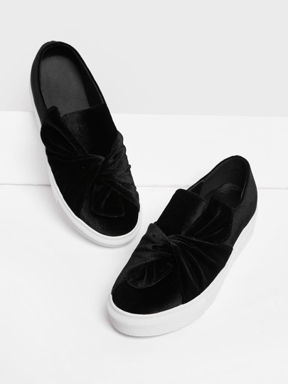 Twisted Design Velvet Slip On Plimsolls