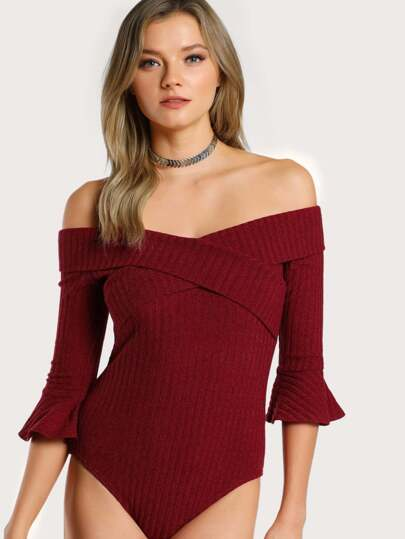 Cross Front Foldover Off Shoulder Bodysuit