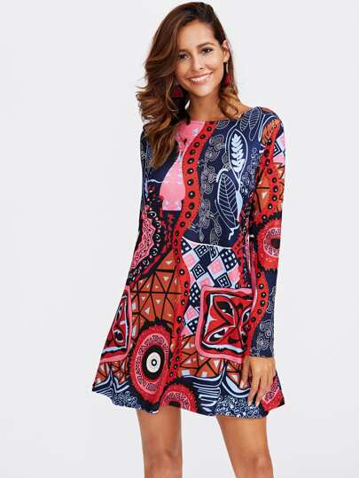 Graffiti Print A Line Dress