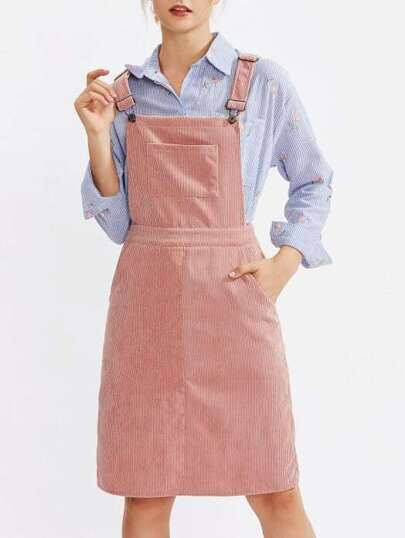 Pocket Front Cord Overall Dress