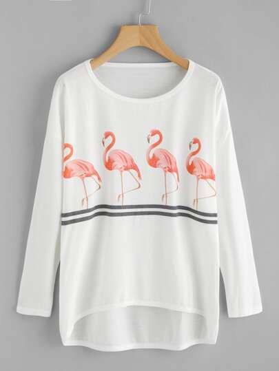 Flamingo Print Drop Shoulder Dip Hem Tee