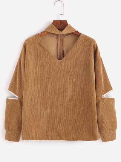 V Cut Zipper Side Sleeve Corduroy Blouse