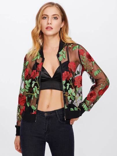 Rose Embroidered Mesh Bomber Jacket