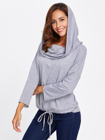 Drawstring Hem Two Way Hoodie