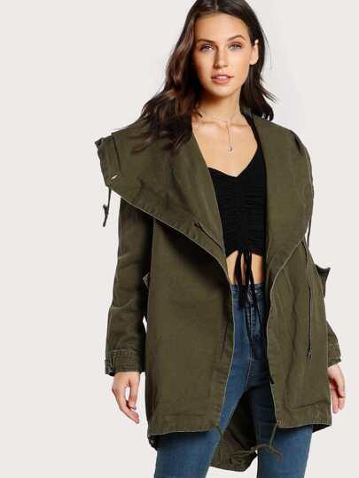 Oversize Drawstring Jacket OLIVE
