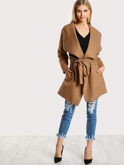 Draped Soft Knit Trench Coat TAUPE