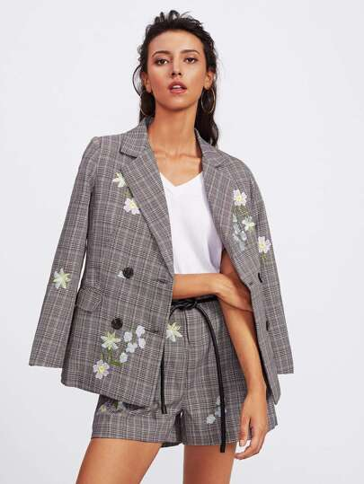 Floral Embroidered Checked Blazer With Self Tie Shorts