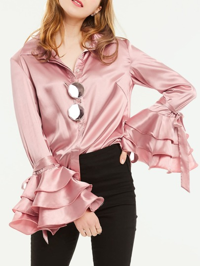Tiered Tie Fluted Sleeve Satin Shirt