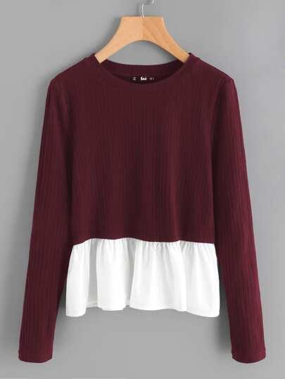 Contrast Frill Trim Rib Knit T-shirt