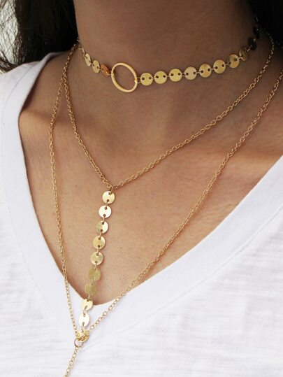 Sequin Decorated Layered Y Necklace With Choker