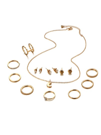 Moon Pendant Chain Necklace & Rings & Earrings Set