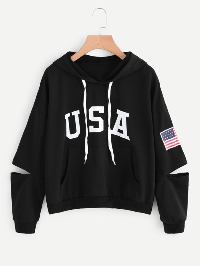 Flag Print Cut Out Sleeve Hooded Sweatshirt