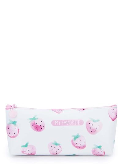Poche Sac avec zip imprimé fraise & slogan