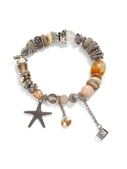 Starfish & Crystal Design Charm Bracelet