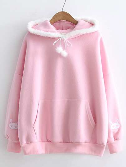 Faux Fur Embellished Rabbit Embroidery Hoodie