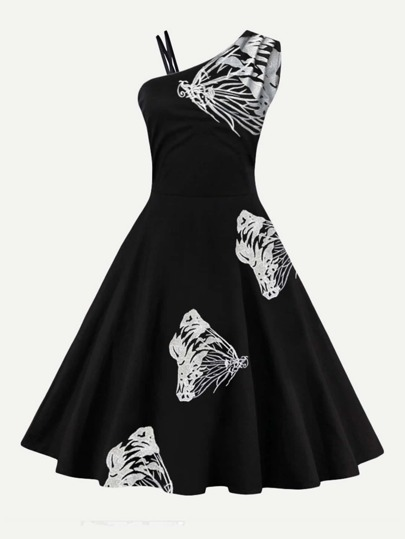 Butterfly Embroidered Circle Dress