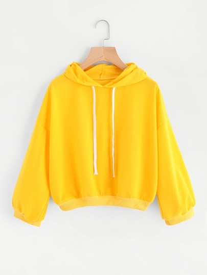 Drop Shoulder Hooded Drawstring Sweatshirt