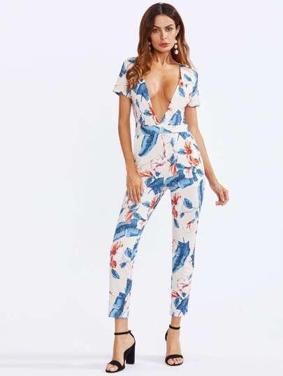 Plunging V-neckline Floral Printed Random Jumpsuit