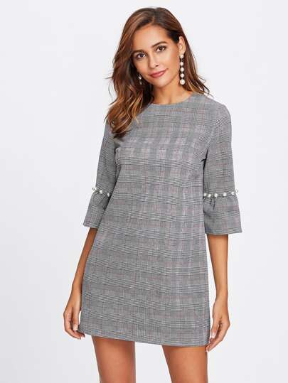 Pearl Beading Trumpet Sleeve Plaid Dress