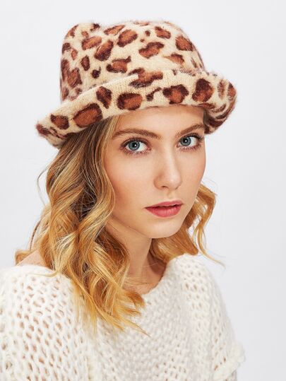 Chapeau imprimé léopard oreille de chat