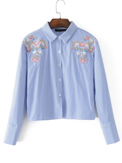 Embroidery Detail Vertical Striped Blouse