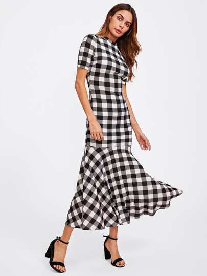 Mock Neck Checked Trumpet Dress