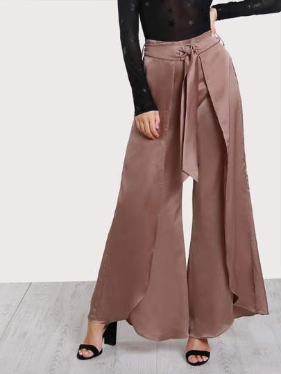 High Rise O-Ring Belt Detail Overlap Pants