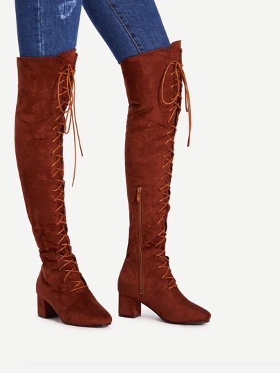 Lace Up Front Side Zipper Thigh High Boots