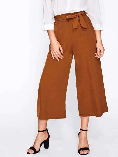 Pantalones anchos de cintura con lazo
