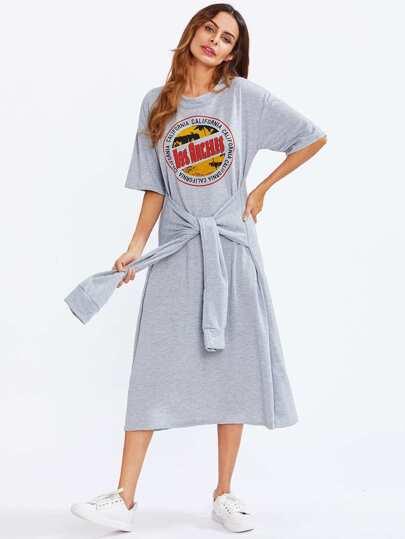 T-shirt vestito con stampa grafica