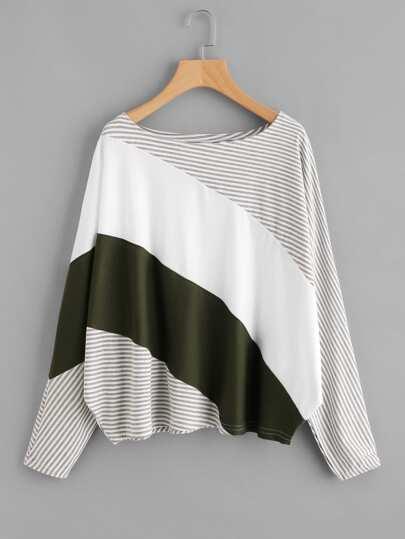 Cut und Sew T-Shirt mit Streifen