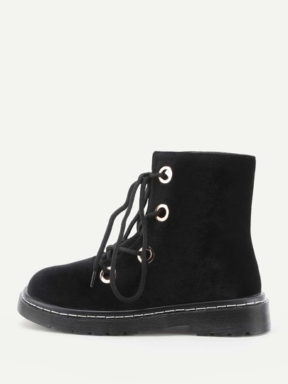 Round Toe Lace Up Velvet Boots