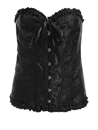 Frill Trim Lace Up Back Corset Set