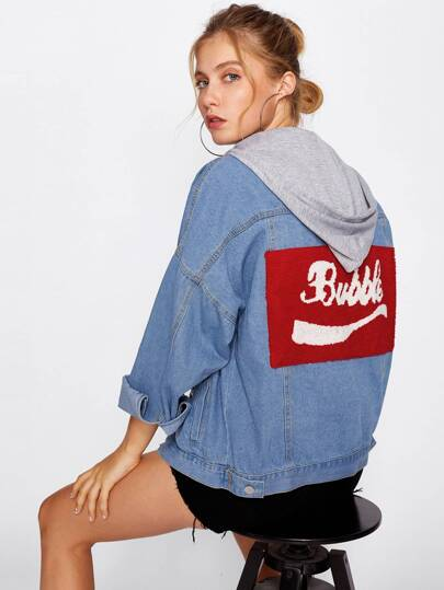 Patch Back Drop Shoulder Hooded Denim Jacket